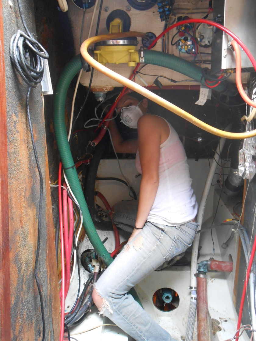 Jackie did an amazing job of scraping and cleaning the engine room.