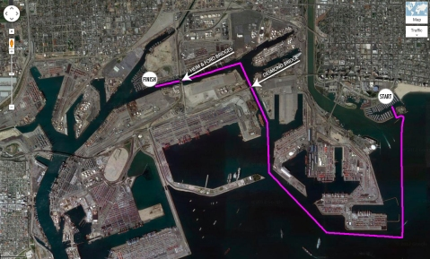 3 mile course from Shoreline Marina to Cerritos Yacht Anchorage.