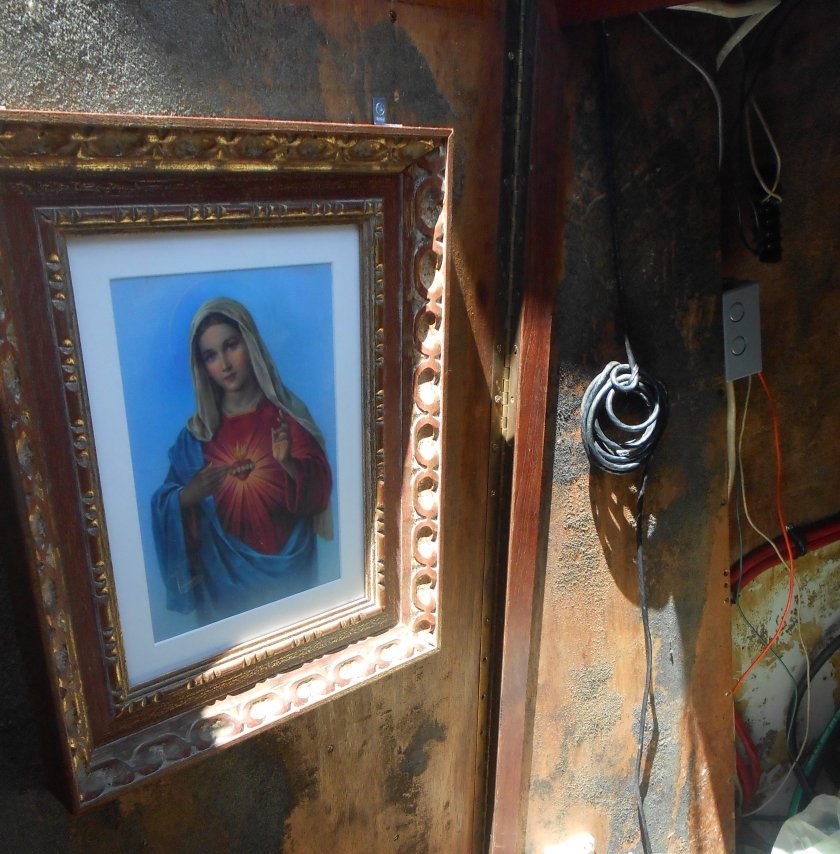 """The good ol' """"Nuestra Señora de Guadalupe"""" watching over our engine room."""