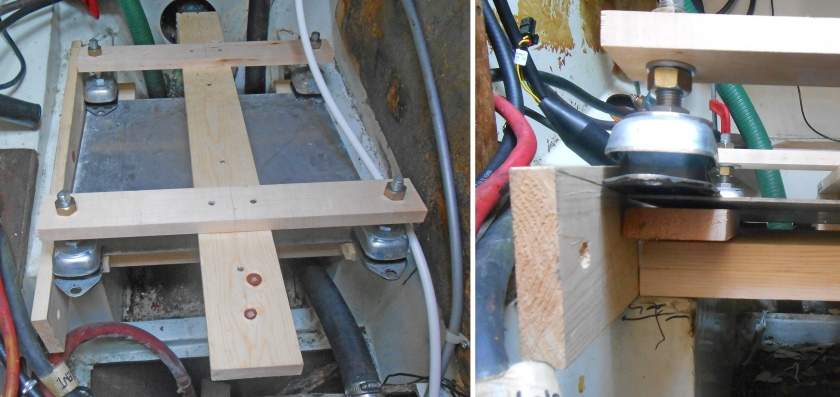 "Using a piece of 1"" x 4"" I traced the new bearer angle along the edge of the aluminum sheet under the mounts."