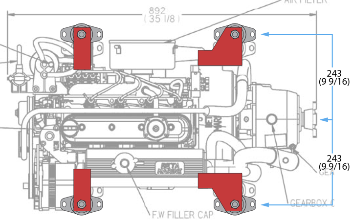 "We considered having special feet made to extend the engine footprint out an 1.5"" on each side. Although this would cancel the need to build the bed out toward the middle, the extra length would add unnecessary leverage to the mounting studs."