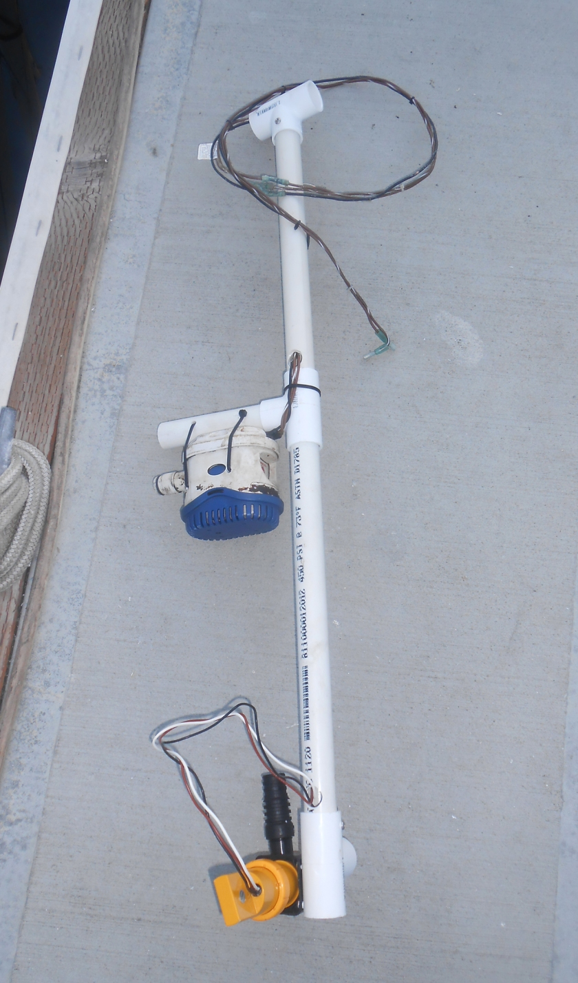 Bilge Pumps #1 and #2 mounted to the pump crutch.