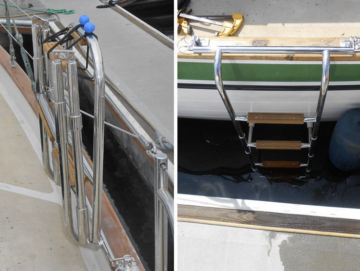 Here's the rough install on the starboard side. I'll still need to rig a quick release cord to have the ladder deployable from the water.