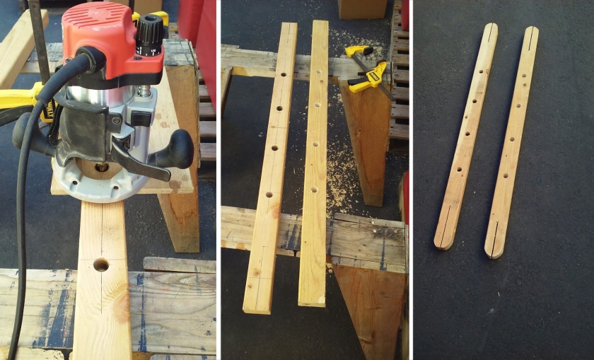 The pinrail prototypes - making slot holes for belaying pins and the grooves for the shrouds.