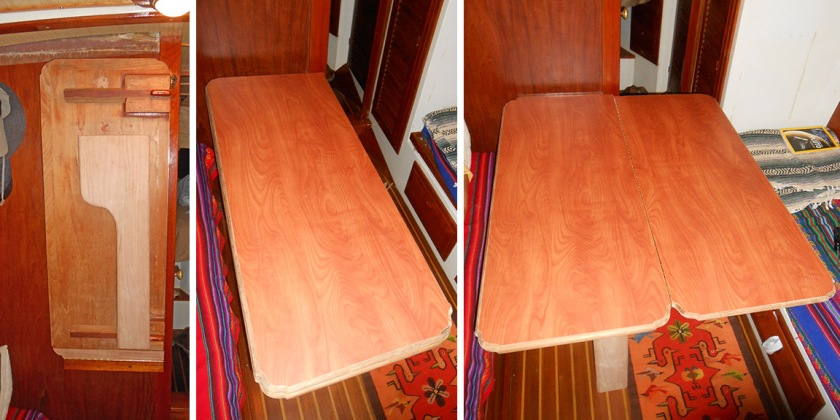 From the stored position the table unlatches, folds down and folds out. It can seat 6 people Jackie's size or 4 people my size. Not bad.